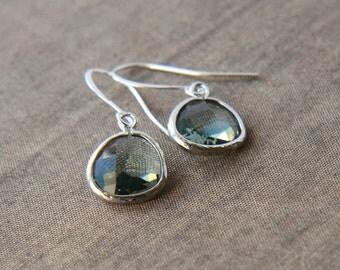Silver Grey Earrings, Dainty Earrings, Grey Crystal, Delicate Earrings, Dainty Earrings