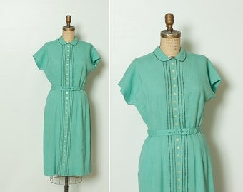 vintage 1930s turquoise dress by Lampl