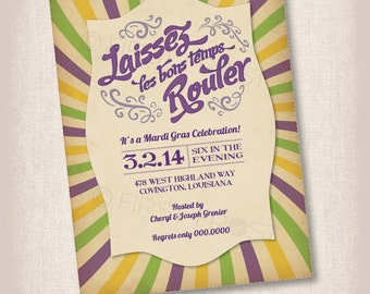 Printable Mardi Gras Party Invitation -  Celebrations, Parties, Showers and More!