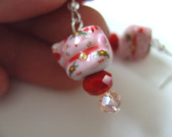 Cat, pink cat, Lucky cat, Japanese cat, pink and red, ceramic, by NewellsJewels on etsy