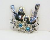 SALE Vintage Sterling Love Birds Brooch, Jewelry, Women