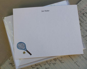 Tennis Player Personalized Stationery Notecard. Racket Racquet. Customized Notecards Thank You Notes Watercolor Print, Set of 10.