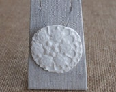 Porcelain Pendant with Embossed Lace Daisy, Handmade Ceramic Necklace, Mrs Peterson Pottery