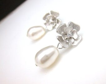 wedding bridal jewelry wedding earrings bridal gift prom party white gold  flower post cubic zirconia earrings white pear pearls