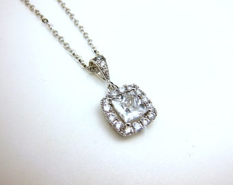 wedding necklace bridal necklace bridesmaid gift prom jewelry square princess cushion cut clear white AAA cubic zirconia pendant necklace