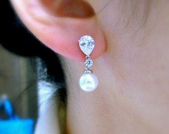SALE Multiple Set of 4 5 6 7 8 pairs Bridal jewelry bridesmaid earrings gift 8mm round white cream pearl dangle teardrop cubic zirconia post