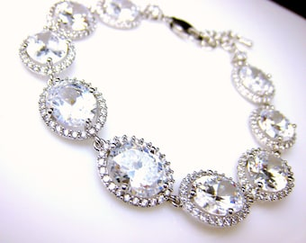 Wedding jewelry bridesmaid gift party prom pageant christmas bridal bracelet christmas oval rhodium pave halo clear white cubic zirconia