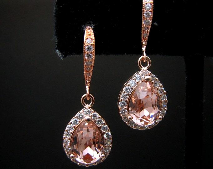 bridesmaid bridal party gift prom jewelry wedding cubic zirconia deco swarovski teardrop vintage rose rhinestone rose gold hook earrings