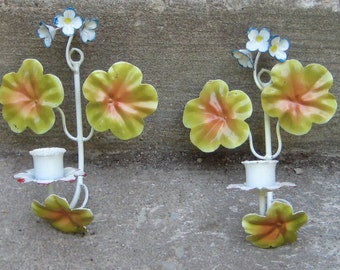 Sweet Charming Shabby Chic Vintage Italian Tole Wall   Candle Sconces flowers n leaves