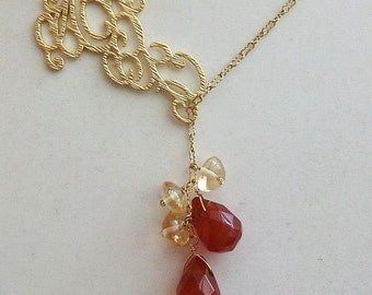 Carnelian Necklace, Red necklace, Citrine necklace, Lariat, Gold Lariat, gift for Mom, Sister, Christmas, Valentine