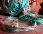 Sari Silk Recycled Ribbon in a Aqua Blue Ice Mix