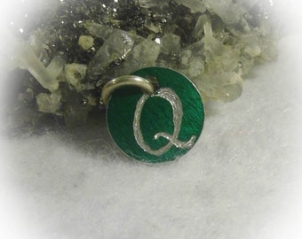 Letter Q Hand Engraved Green Personalized Small  Charm 1/2 inch