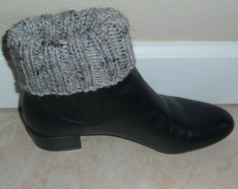 Hand Knit Boot Cuffs, Boot Toppers. Leg Warmers- Grey Fleck