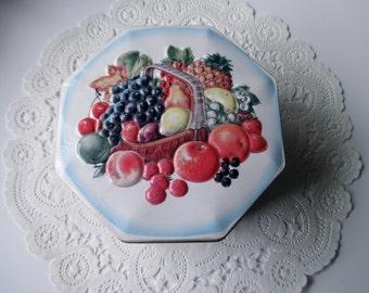 Fruit Basket DECORATIVE TIN-  white, blue, made in ENGLAND