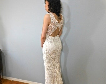 Bohemian Wedding Dress, Mermaid Lace Wedding Dress, Hand made Wedding Dress Lace Dress NOT for SALE  (Pictures for Fit Only)
