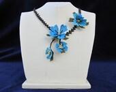 Blue Crochet Necklace,Blue Pansies Necklace, Aquamarine Necklace, Royal Blue Crochet Flower, Blue Rose Necklace - Blue - Statement Necklace,