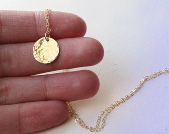 Hammered Gold Disc Necklace, simple gold necklace, gold circle monogram necklace, everyday necklace