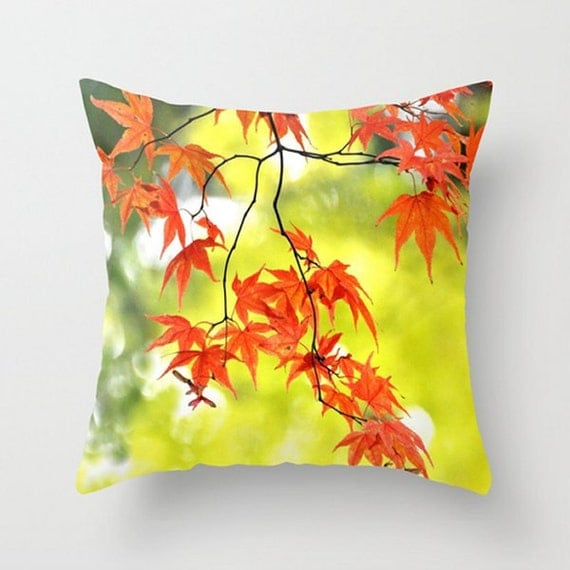 Autumn Throw Pillow Covers : Items similar to Autumn Throw Pillow Cover, Fall colors, Chartreuse Bokeh background, Maple ...