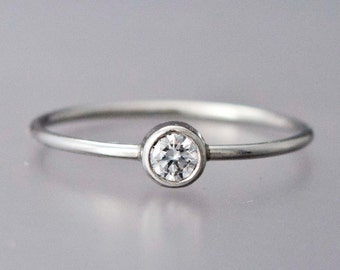Diamond Platinum Engagement Ring - 3.4mm diamond with a delicate 1mm round band