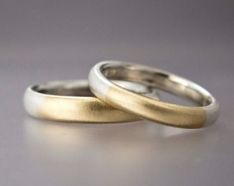 Two Tone Wedding Band Set - Mens or Womens 14k Gold and Silver Comfort Fit Rings - Married Two Tone Band