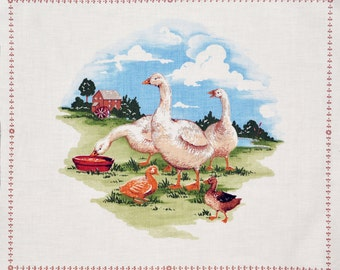 pillow panel, appliques, quilting, Geese, Farm scene