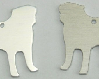 "1pc Aluminium Stamping Blanks Tag Charms Pug 18 Gauge Shiny 24mm 1"""