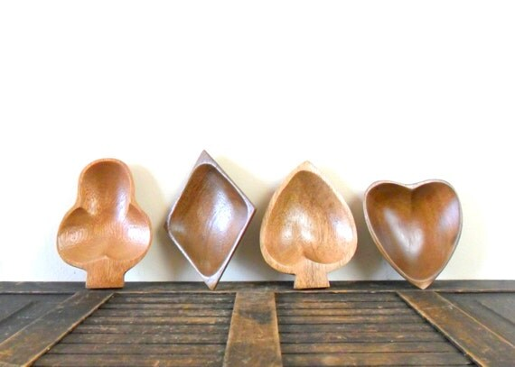vintage midcentury modern wooden card suit snack bowls - heart - spade - club - diamond