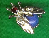 1960's Vintage Blue Bug Brooch/Pin-As New