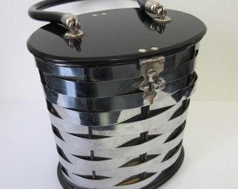 Vintage Dorset Rex Metal Basket Weave Lucite Purse
