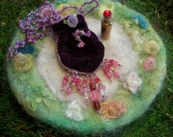 Beaded Velvet Pouch with Magical Fairy Glitter Sparkles Purple Velvet Pouch with Beaded Fringe Fairy Gift