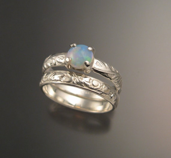 Opal Sterling silver Wedding Ring Set by stonefeverjewelry on Etsy