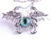 Steampunk Necklace Gothic Bat Necklace Gothic Steampunk Dragon's Eye Necklace Unisex Griffon Necklace Griffin