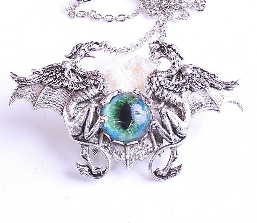 Steampunk Necklace Gothic Bat Necklace Gothic Steampunk Dragon's Eye Necklace Unisex Griffon Necklace Griffin steampunk buy now online