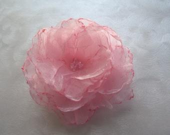 Morning's Blush Singed Organza Hair Flower