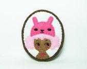 41% SALE Rabbit Girl Felt Brooch / Miniature Portrait Brooch / Pink Girl Felt Pin / Animal Lover Brooch / Kawaii Girl Brooch / Rabbit Brooch