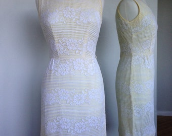 Yellow Cream Lace Vacation Wear Rockabilly Pinup Mid Century 50s Vintage Dress