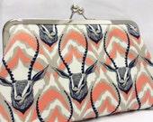 clutch purse - persistence  -   8 inch metal frame clutch purse - large clutch - purse - african - animal - kisslock clutch