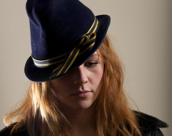 Navy Trilby Blue Dark Blue Fleur Witch Hat Millinery Special Occasion Brimmed   November Trends