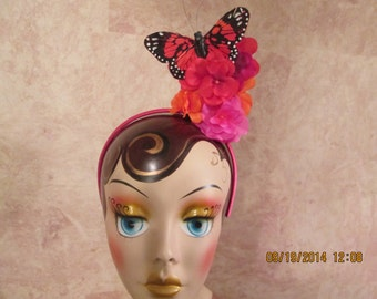 Over The Top Floral Headband with Butterfly - Colorful Floral Headband - Butterfly Headband