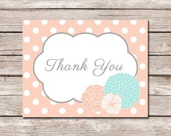Peach/Coral and Teal Thank You Note - DIGITAL FILE