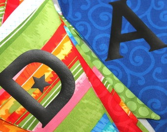Happy Birthday Bunting - Unisex Banner - Bold Color Sign - Fabric Birthday Pennants