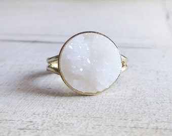 Snow white gold ring, white faux druzy ring,white ring, round white faux druzy gold ring, adjustable gold ring,cocktail ring,gift for her
