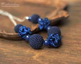 Dark blue fabric and crochet beads necklace, textile necklace, textile jewelry, Statement Necklace, Unique Gift for Her