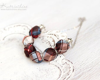 Fabric necklace brown blue, white and red PLAID  textile necklace