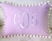 Monogrammed Seersucker or Pique Pom Pom Pillow Cover