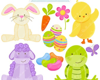Easter Friends Cute Digital Clipart, Easter Graphics, Easter Clipart, Easter Bunny Clip Art, Easter Eggs, Easter Chick, Jelly Beans, Lamb