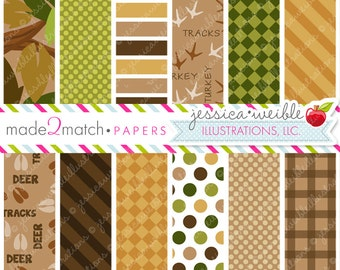 Hunting Season Cute Digital Papers Backgrounds -Commercial Use Ok - Camo Digital Papers, Made to Match Hunting Season