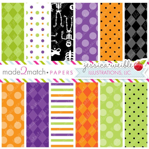 Silly Skeletons Cute Digital Papers Backgrounds- Commercial Use OK - Halloween Backgrounds, Halloween Papers, Digital Background