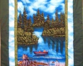Handmade Lap Quilt or Wall Hanging Gone Fishing - New NOW ON SALE