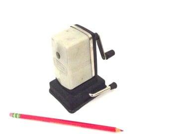 Vintage Boston Vacuumette Tabletop or Desktop Pencil Sharpener in Ivory Plastic and Black Metal